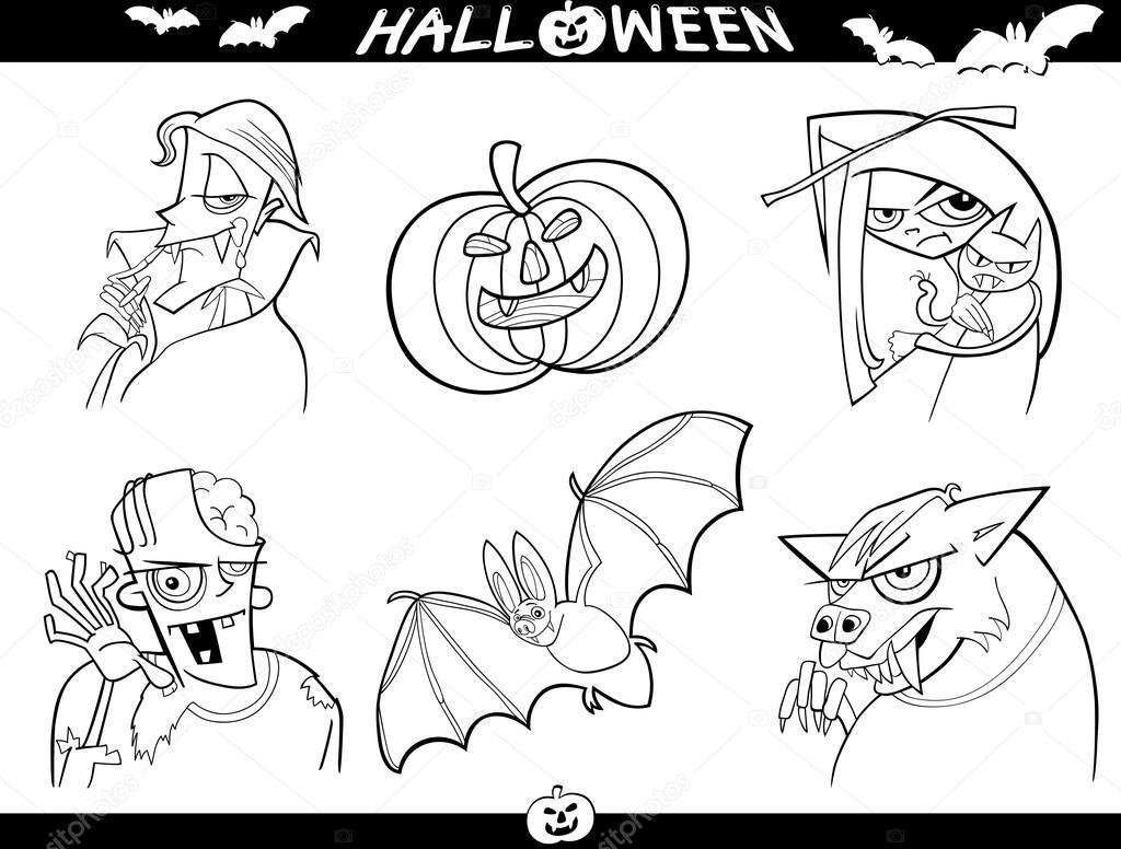 temas de dibujos animados de Halloween para colorear — Vector de ...