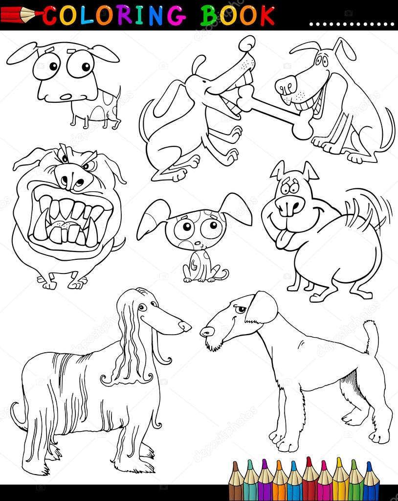 Cartoon Dogs for Coloring Book or Page — Stock Vector © izakowski ...