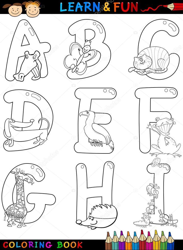 alfabeto de dibujos animados con animales para colorear — Archivo ...