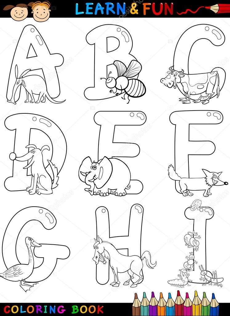 Cartoon-Alphabet mit Tieren zum Ausmalen — Stockvektor © izakowski ...