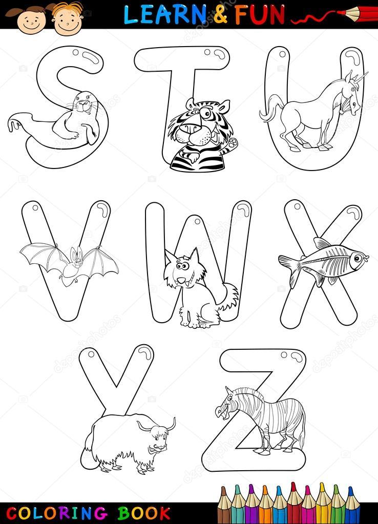 alfabeto de dibujos animados con animales para colorear — Vector de ...