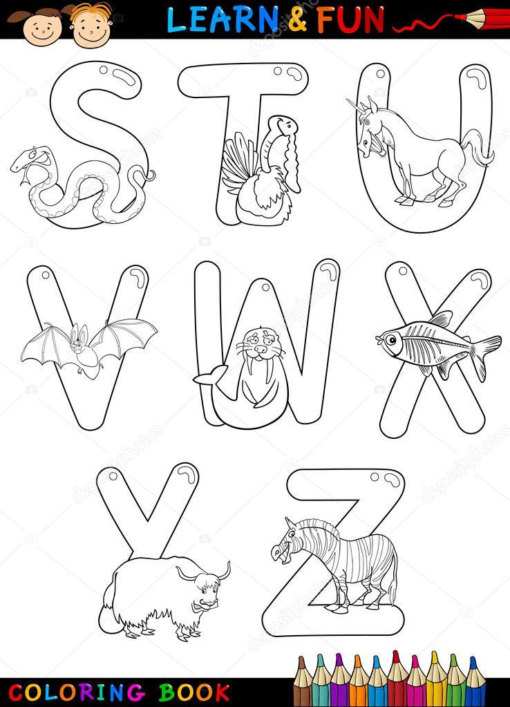 Alfabeto Di Cartone Animato Con Animali Da Colorare Vettoriali
