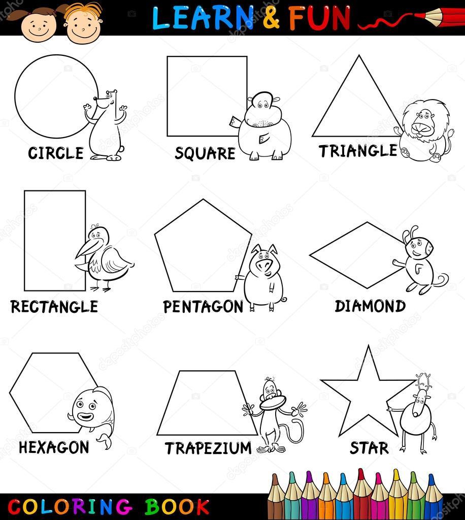 formas básicas con animales para colorear — Vector de stock ...