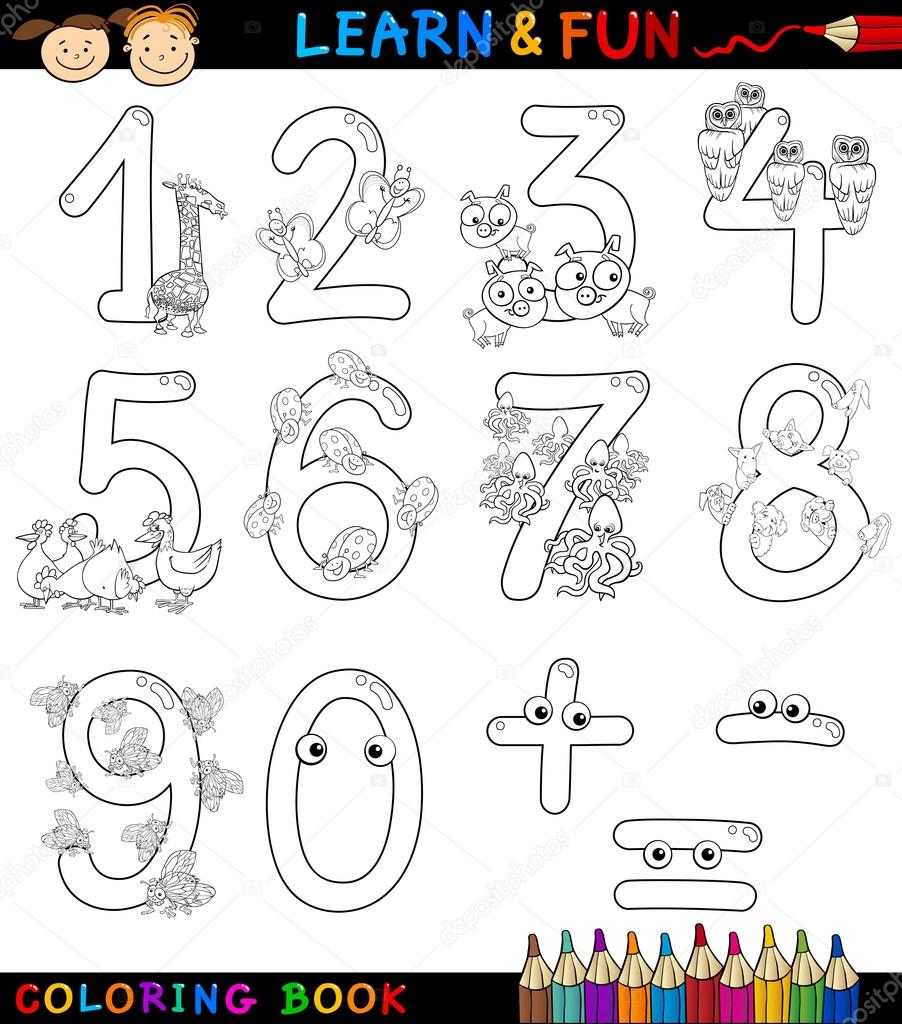 Numbers With Cartoon Animals For Coloring Stock Vector Izakowski