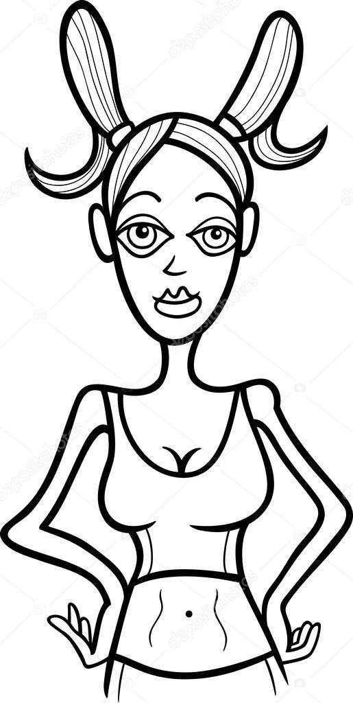 Kadın Oğlak Işaret Boyama Stok Vektör Izakowski 13747202
