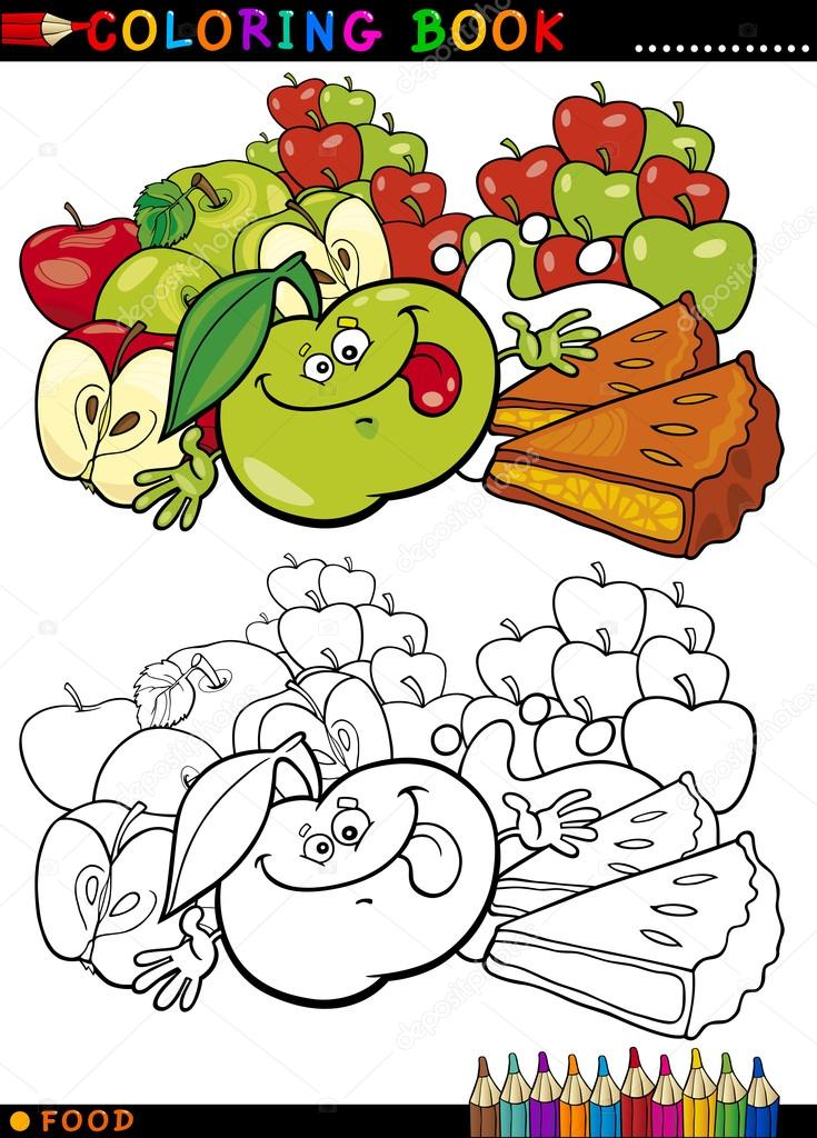 manzanas y pastel para colorear — Archivo Imágenes Vectoriales ...