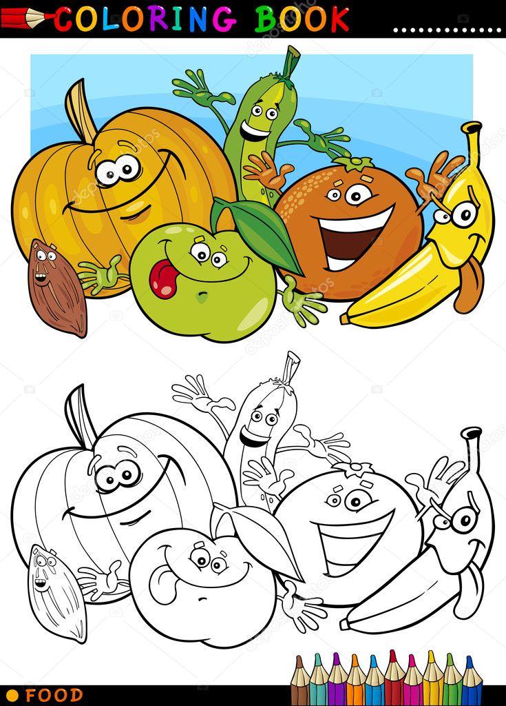 Obst und Gemüse zum Ausmalen — Stockvektor © izakowski #13904134