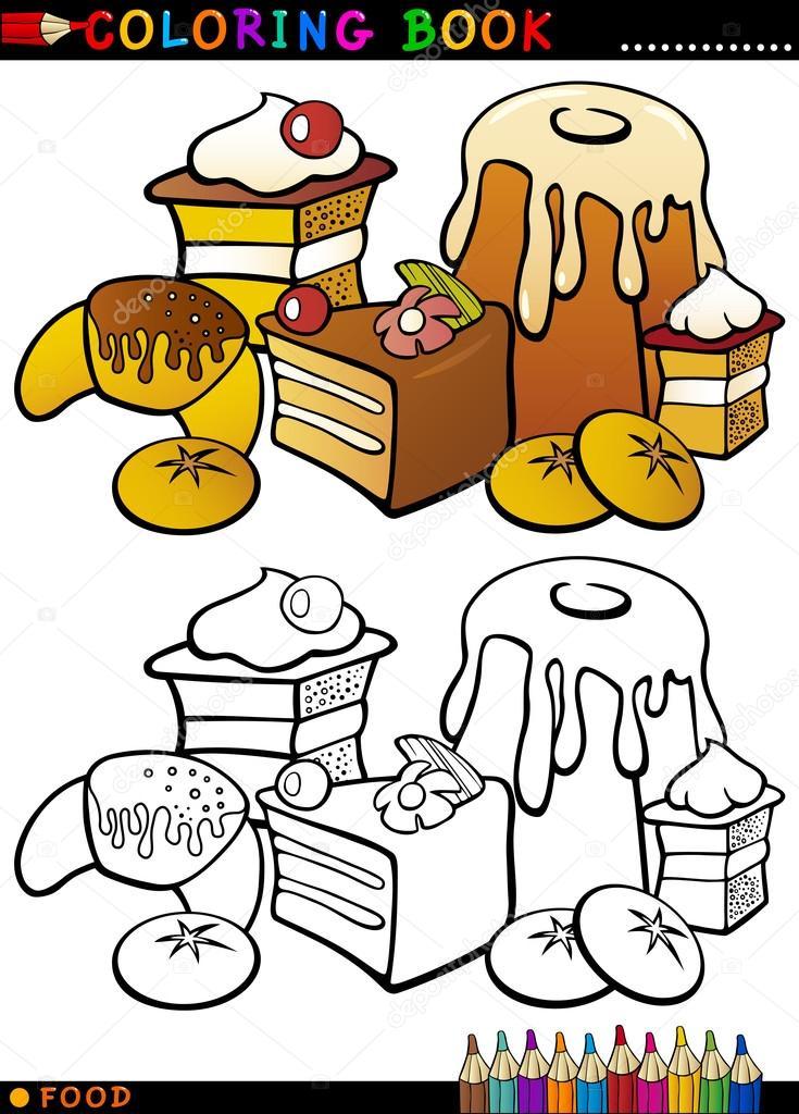 pasteles y galletas para colorear — Archivo Imágenes Vectoriales ...