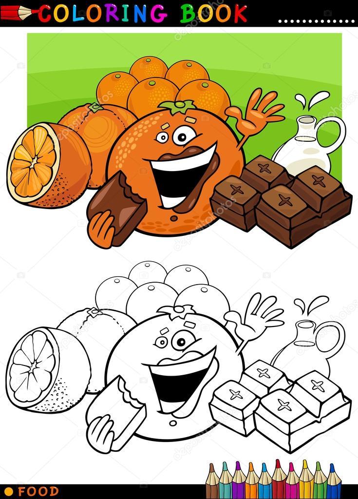naranjas y chocolate para colorear — Archivo Imágenes Vectoriales ...