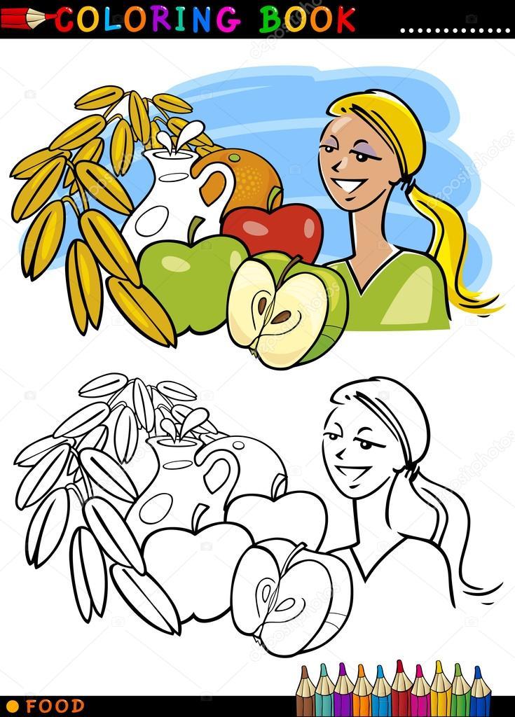 desayuno saludable para colorear — Archivo Imágenes Vectoriales ...