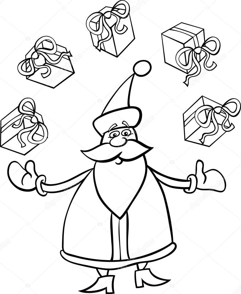 weihnachtsmann cartoon zum ausmalen stockvektor. Black Bedroom Furniture Sets. Home Design Ideas