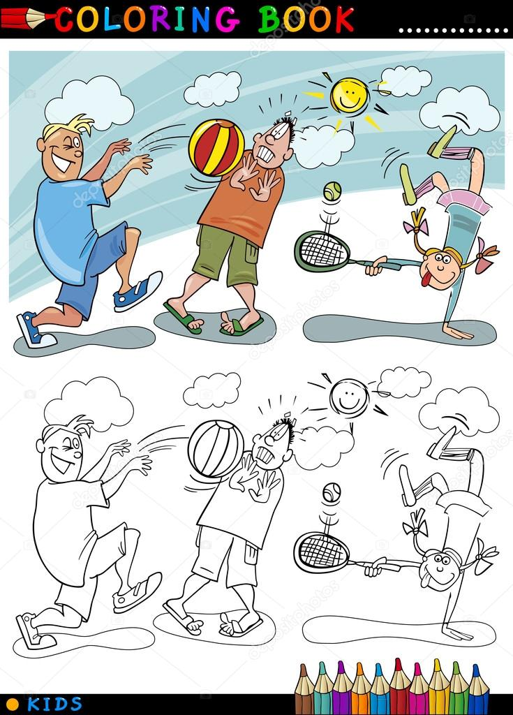 çocuk Topu çizgi Film Boyama Oyun Stok Vektör Izakowski 14006980