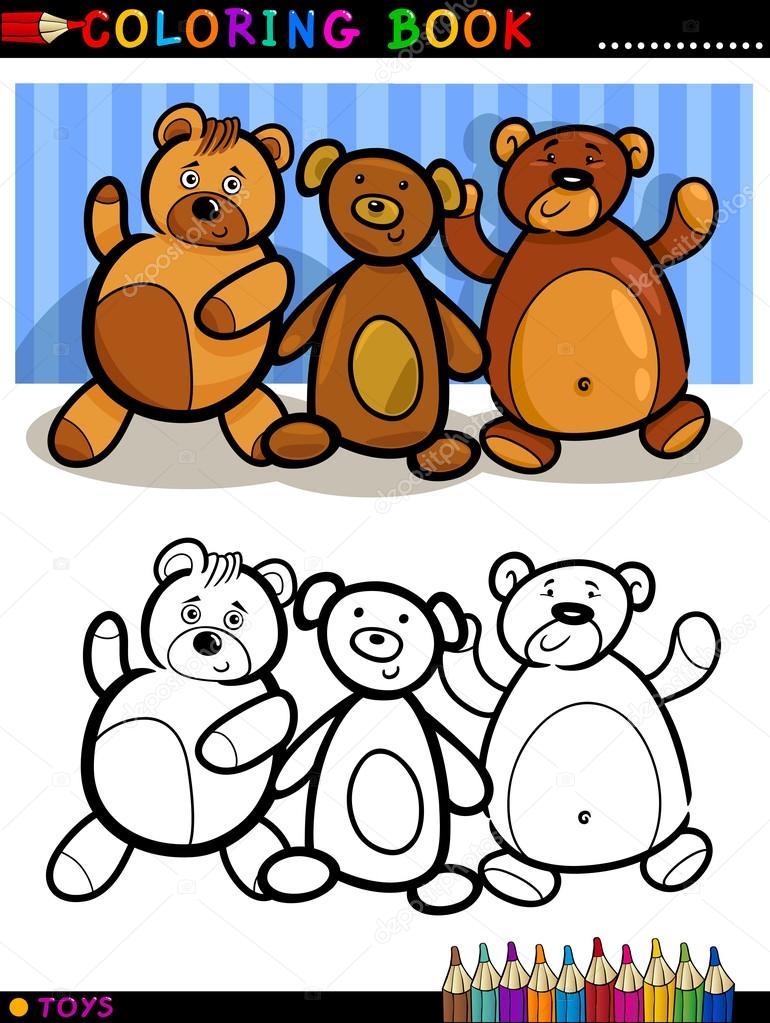 dibujos animados de osos de peluche para colorear — Vector de stock ...