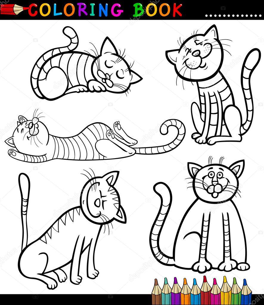 dibujos animados de gatos y gatitos para colorear libro — Archivo ...