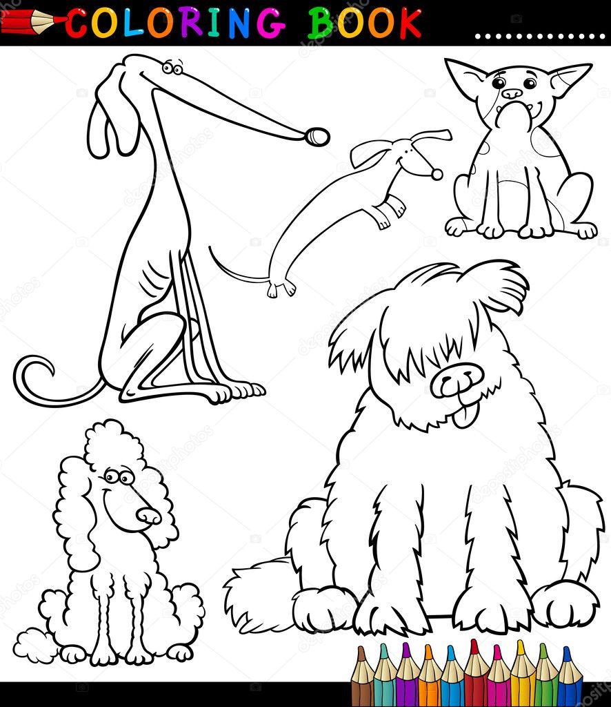 desenhos animados de cães ou filhotes de cachorro para colorir livro