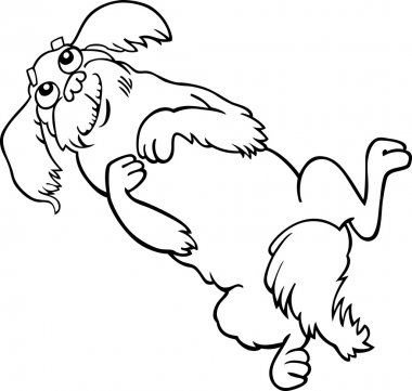 Happy fluffy dog cartoon for coloring