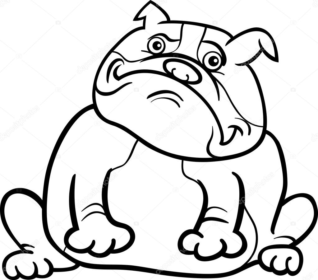 Coloriage Bouledogue Anglais.Caricature Chien Bulldog Anglais Pour Cahier De Coloriage