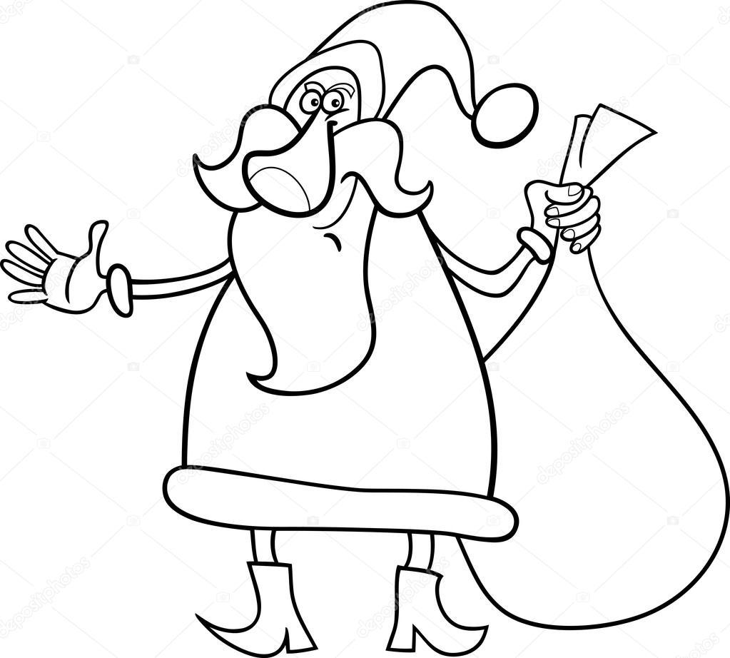 Santa Claus Cartoon For Coloring Book Stock Vector C Izakowski