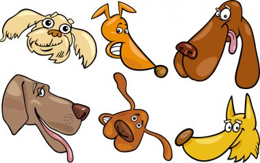 Cartoon happy dogs heads set