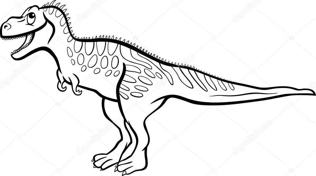 çizgi Film Tarbosaurus Dinozor Boyama Kitabı Için Stok Vektör