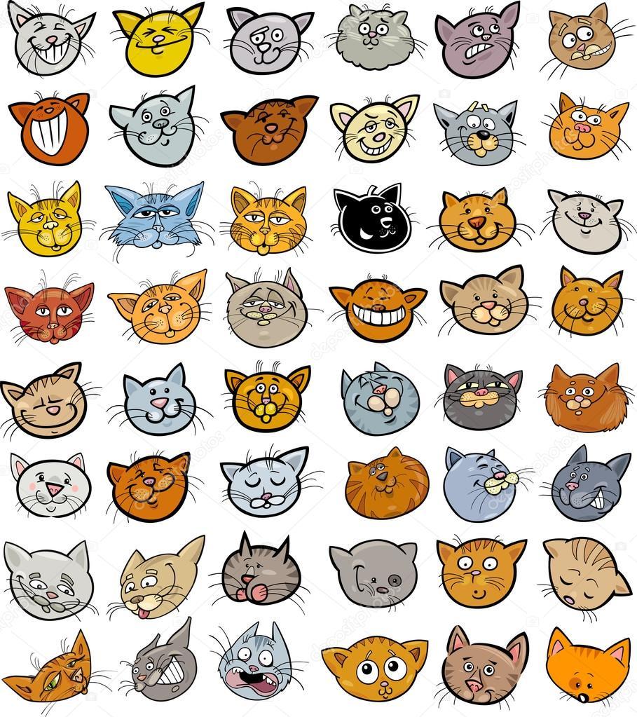 Cartoon funny cats heads big set