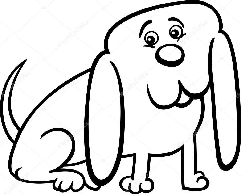 Ilustración de dibujos animados de perro pequeño para colorear ...