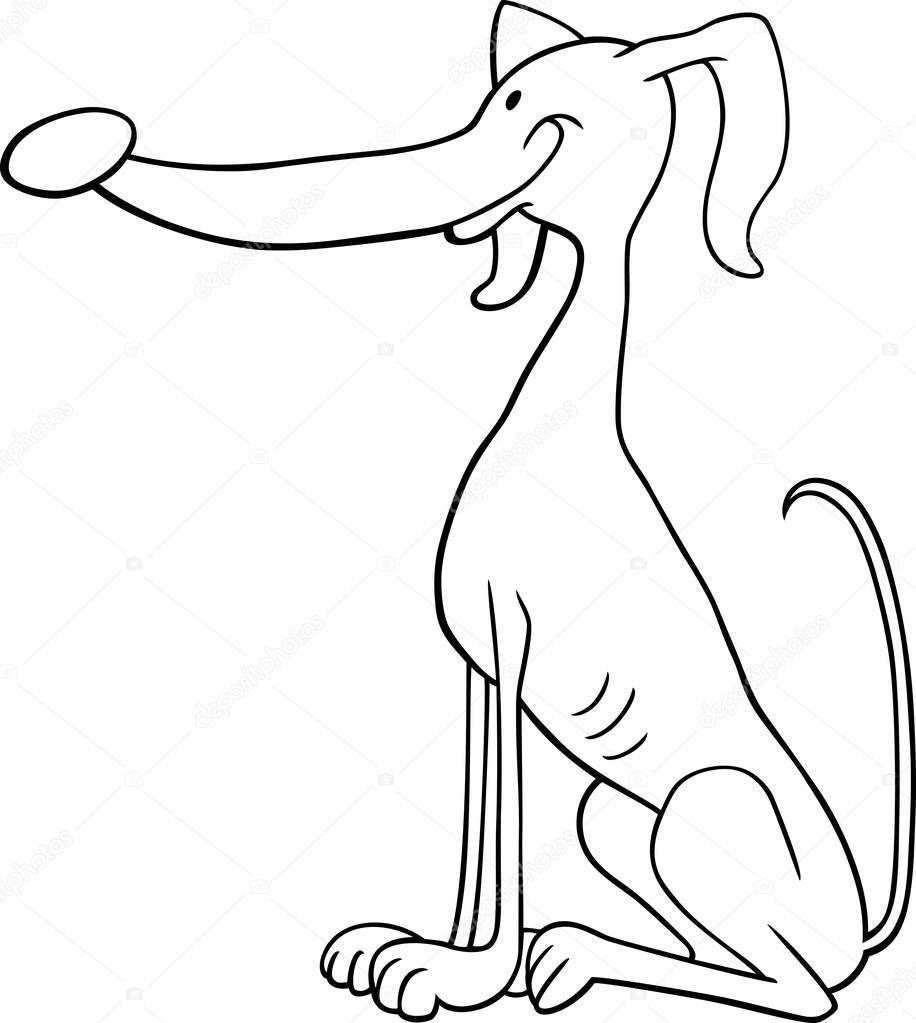 Galgo perro de dibujos animados para colorear libro — Archivo ...
