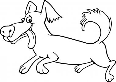 Running little dog cartoon for coloring