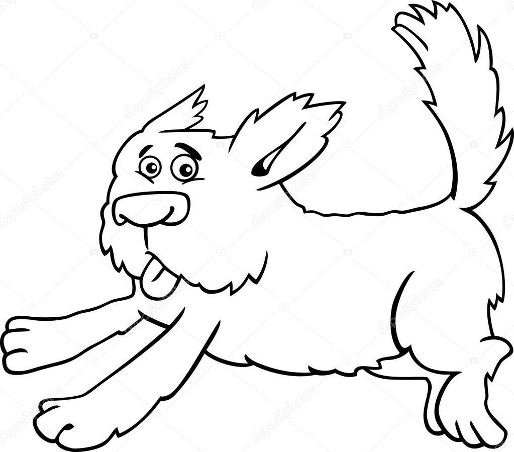 corriendo perro lanudo de dibujos animados para colorear — Archivo ...