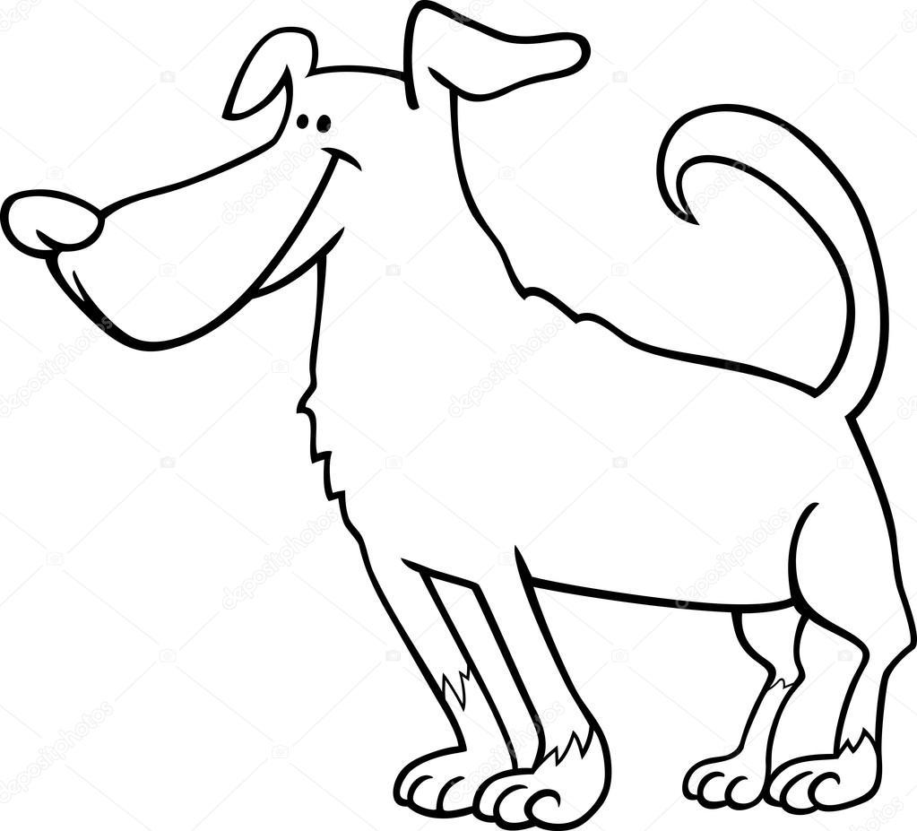 lindo perro de dibujos animados para colorear libro — Archivo ...