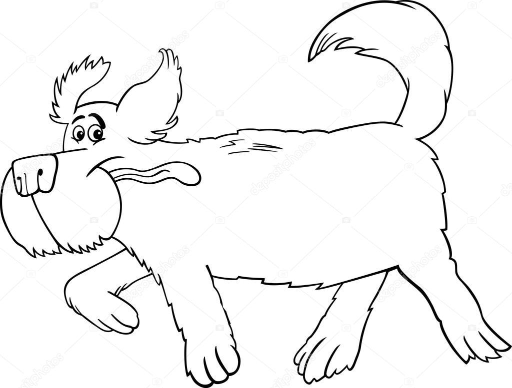 dibujos animados de perro ovejero corriendo para colorear — Archivo ...
