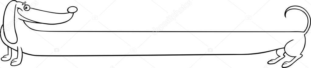largo dachshund perro de dibujos animados para colorear — Vector de ...