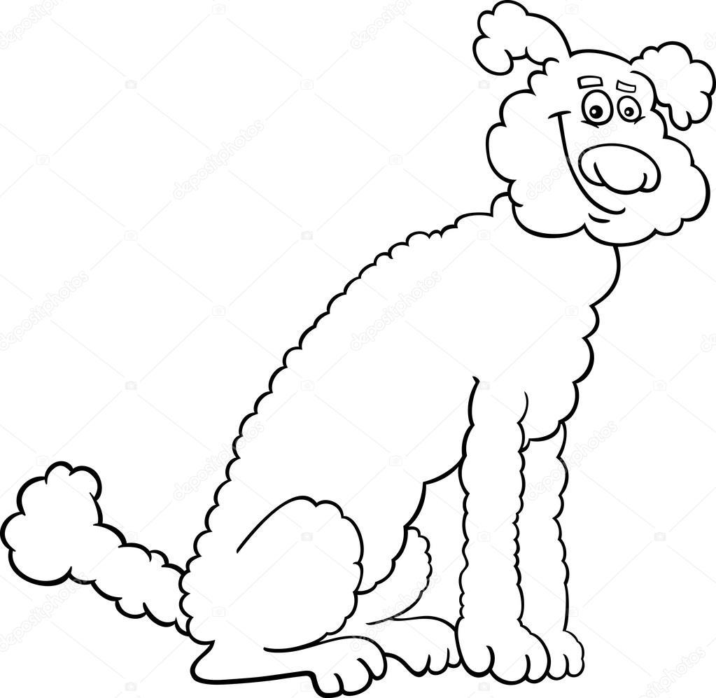 Caniche perro de dibujos animados para colorear libro — Vector de ...