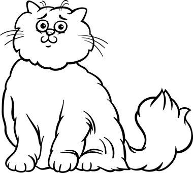 Persian cat cartoon coloring page