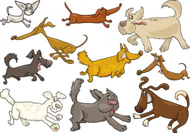 Cartoon Illustration of Different Playful Running Dogs or Puppies Set clip art vector
