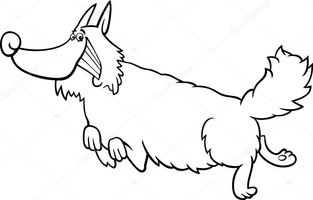 Лохматый собака мультфильм для раскраски книга — Векторное ...