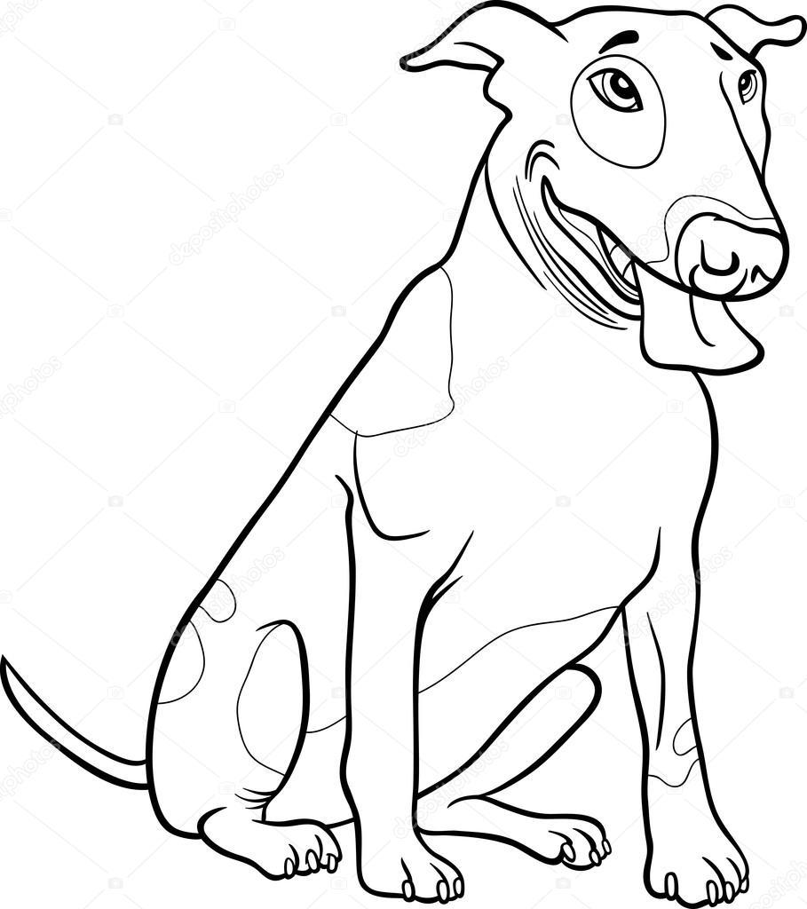 Boğa Korkunç Köpek Boyama Kitabı Için Stok Vektör Izakowski