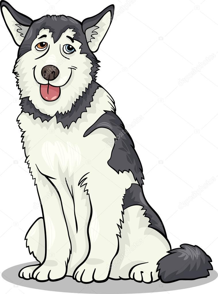 Ilustración de dibujos animados de perro husky o malamute — Archivo ...