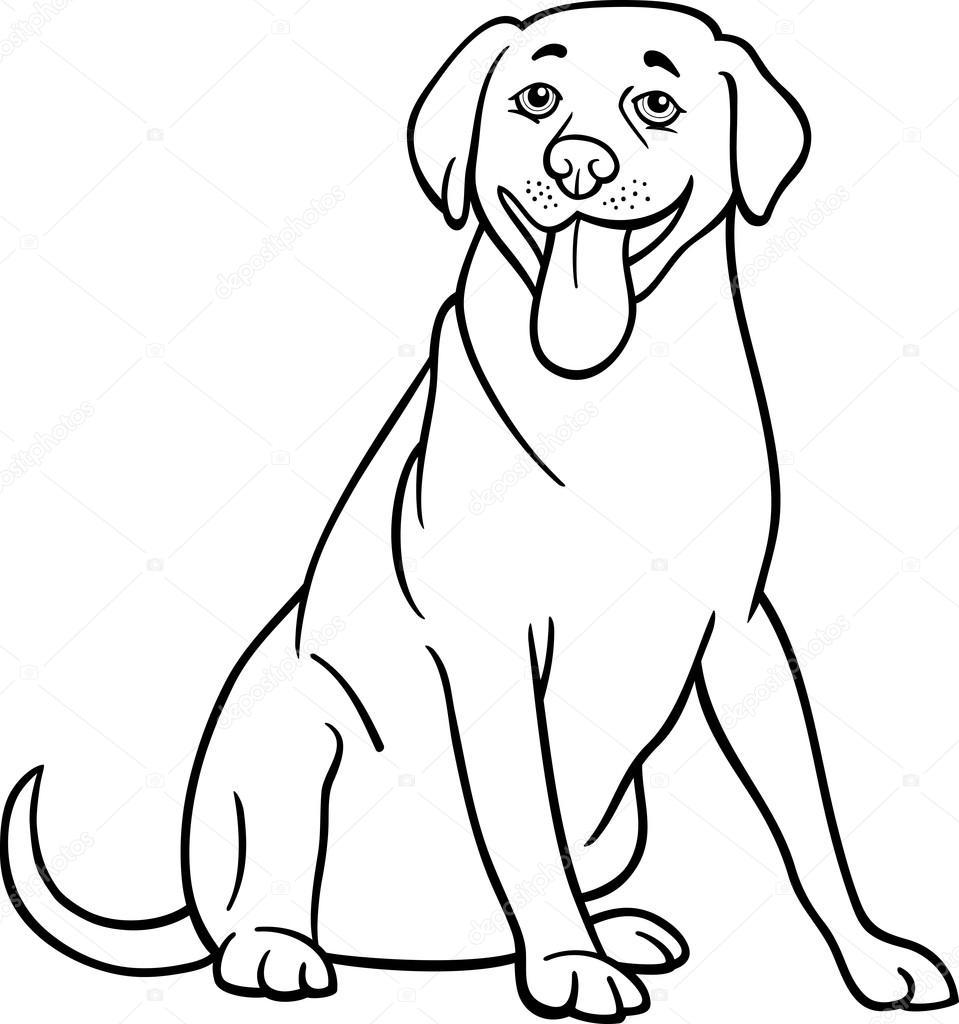 Caricature De Chien Labrador Retriever à Colorier Image