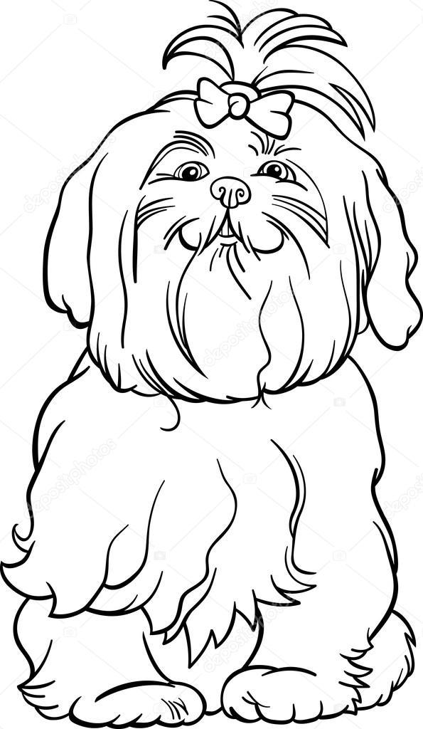 perro maltés de dibujos animados para colorear libro — Archivo ...