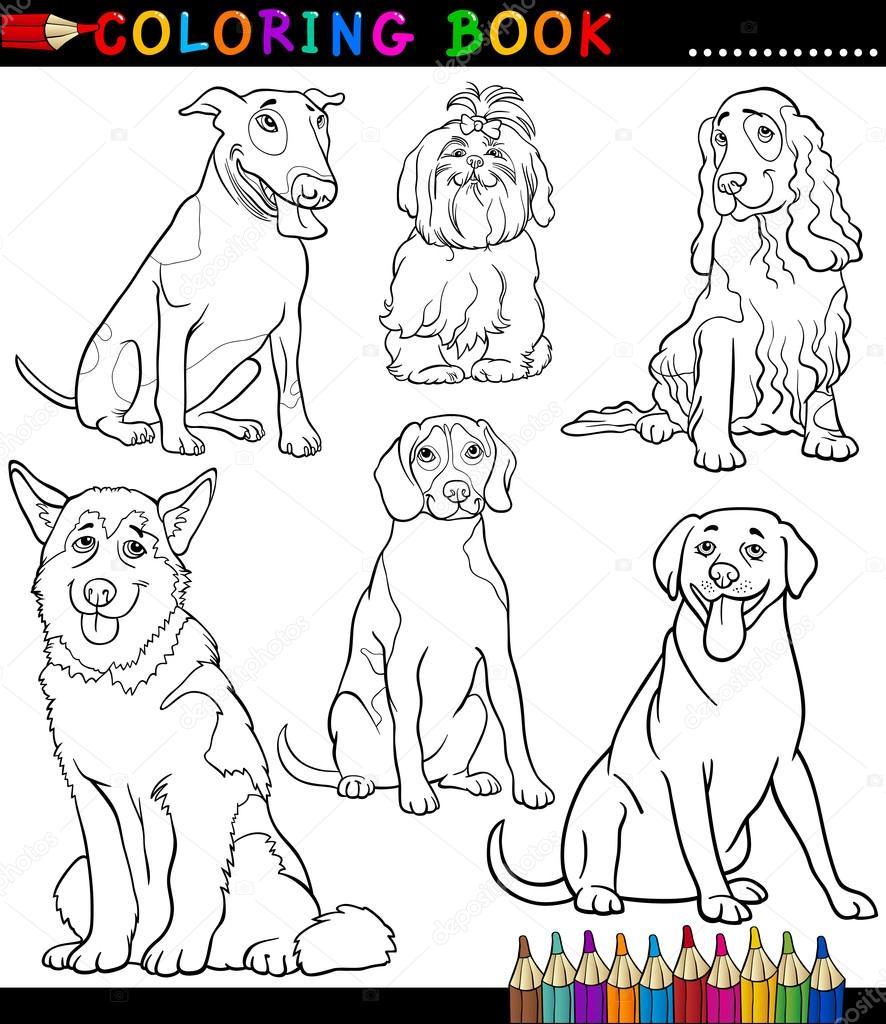 Мультфильм собак и щенков окраски страницы — Векторное ...