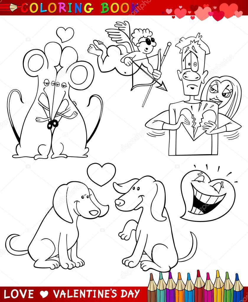 temas de dibujos animados de San Valentín para colorear — Archivo ...
