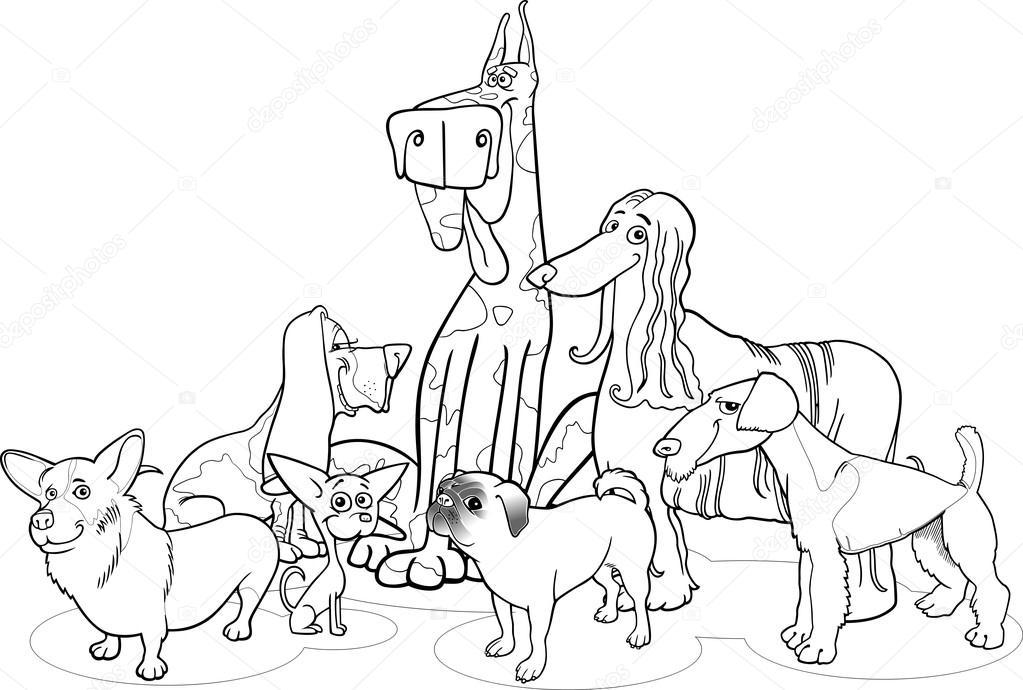 perros de raza grupo de dibujos animados para colorear — Archivo ...
