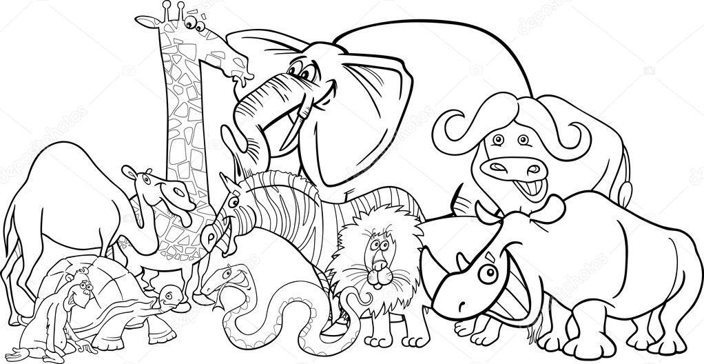 dibujos animados de animales de safari en África para colorear ...