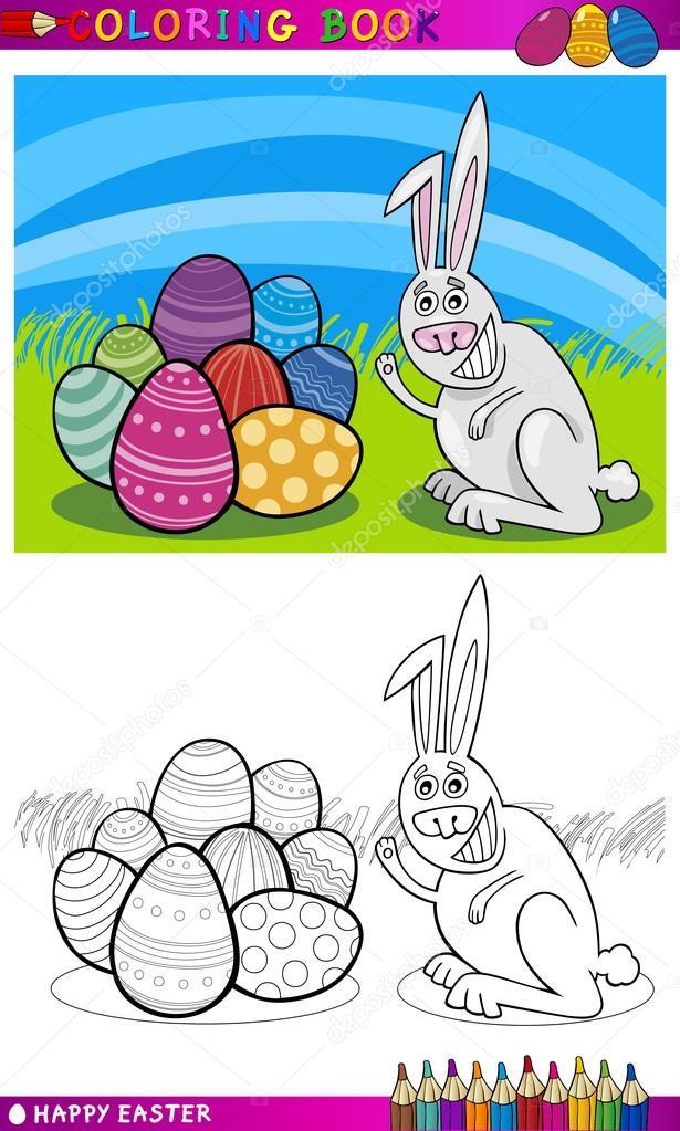 dibujos animados de conejito de Pascua para colorear — Archivo ...