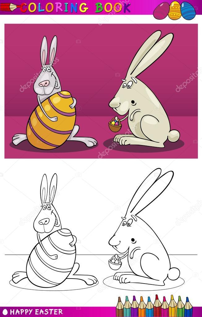 пасха Bunny мультфильм для раскраски векторное изображение