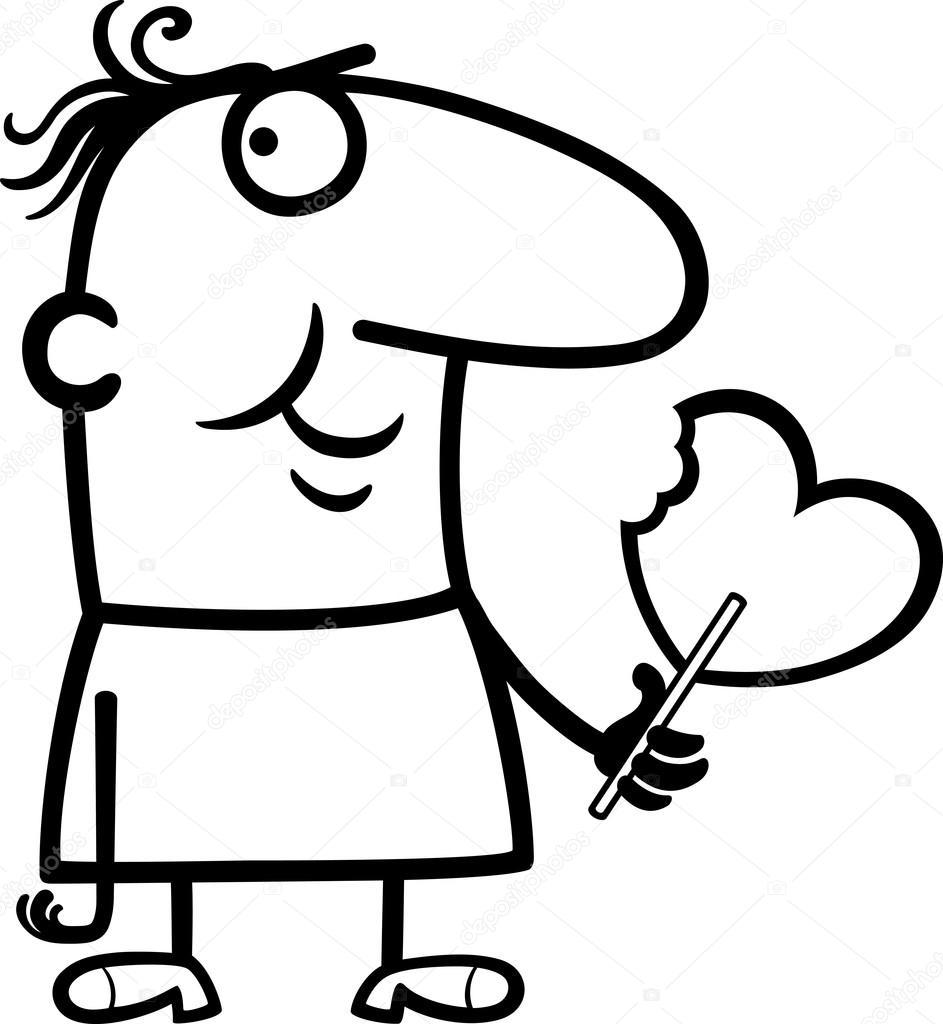 Coloriage Sucette Coeur.Homme Esprit Valentine Atre Sucette Cartoon Image Vectorielle