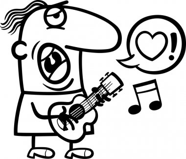 Black and White Cartoon Illustration of Funny Man Playing on the Guitar and Singing Love Song for Valentines Day stock vector
