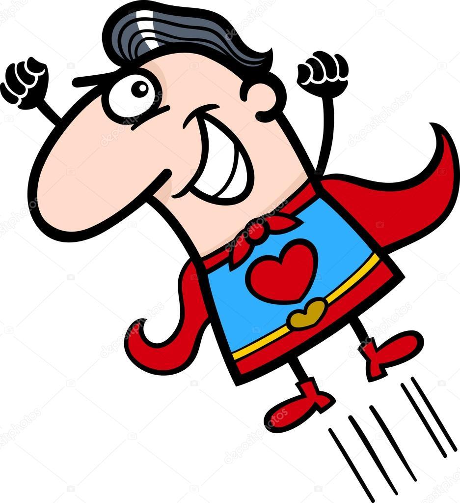 Caricaturas De Superheroes Graciosas Ilustracion De San Valentin