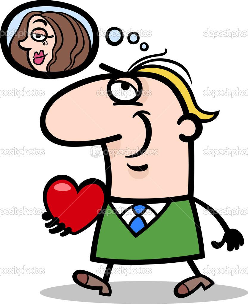 Hombre Con Su Ilustracion De Dibujos Animados De San Valentin